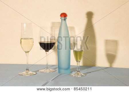 glasses and bottle