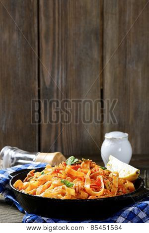 Pasta With Seafood In A Frying Pan