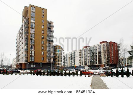Winter In Capital Of Lithuania Vilnius City Bajoru Hills District