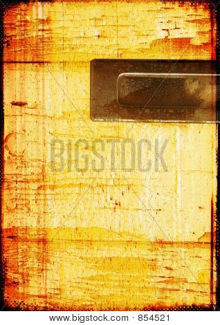 Grunge Background With Metal Plate For Text