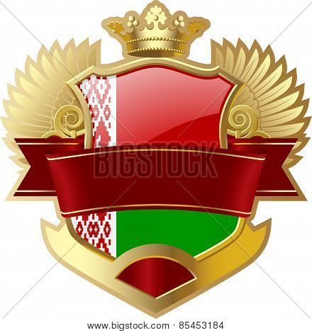 Shield with wings and crown angel Belarus
