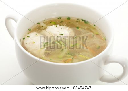 Vegetables Broth with Chicken Meatball and Herbs