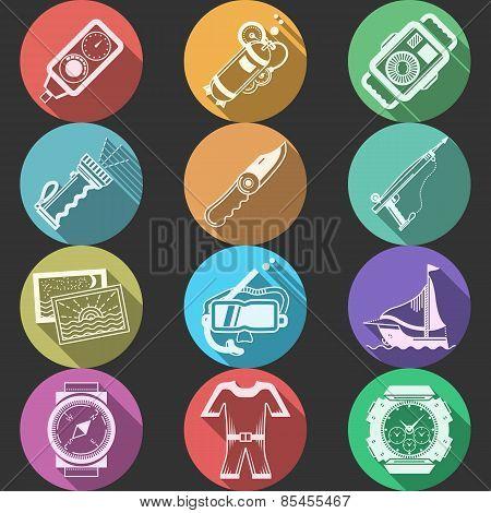 Scuba equipment flat color vector icons