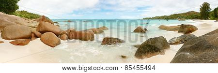 Landscape Panorama Seychelles lagoon with clean sand