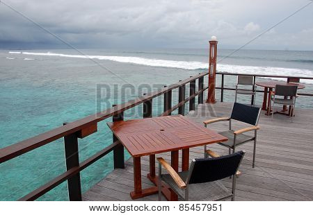 Open Air Cafe At Timber Platform With Ocean View