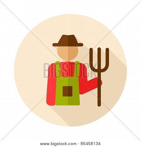 Farmersflat Icon With Long Shadow