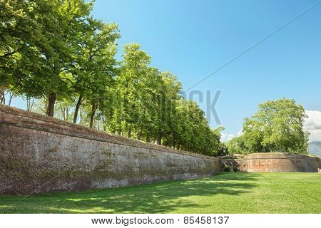 Lucca medieval city and surrounding city walls, Italy