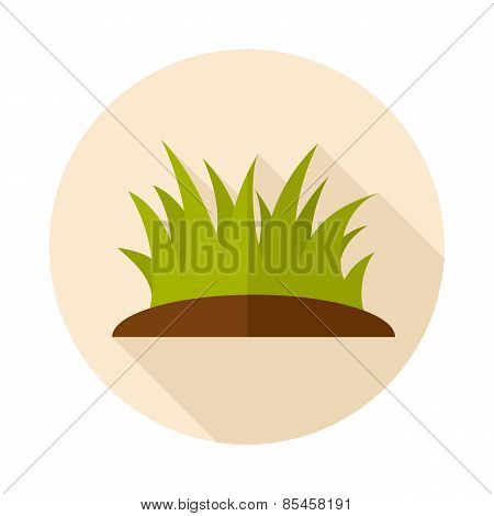 Grass Flat Icon With Long Shadow