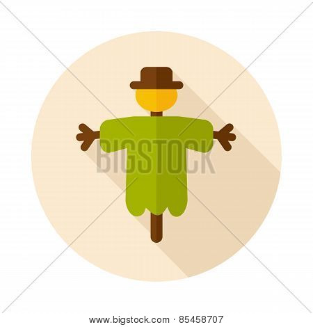 Scarecrow Flat Icon With Long Shadow