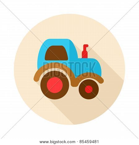 Tractor Flat Icon With Long Shadow