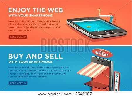 Enjoy the web with your smartphone. Buy and sell with your smartphone. Vector flat banners set.
