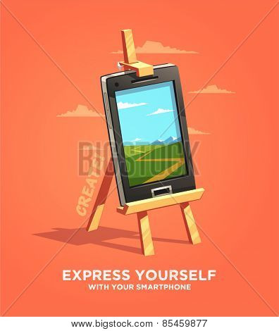 Express yourself with your smartphone. Vector illustration.