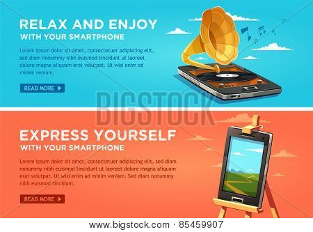 Relax and enjoy with your smartphone. Express yourself with your smartphone. Vector flat banners set.