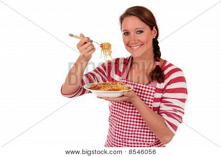 Woman Cooking Spaghetti