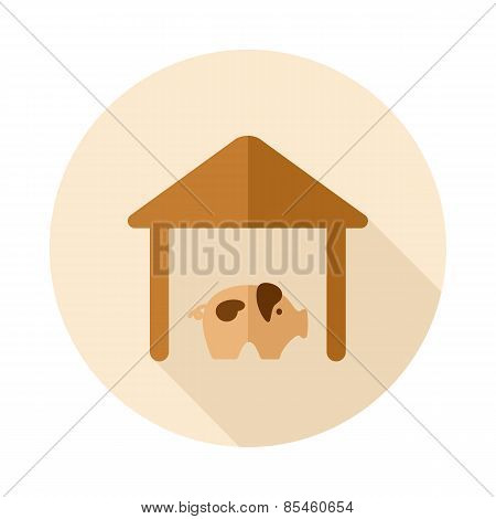 Pigsty Flat Icon With Long Shadow
