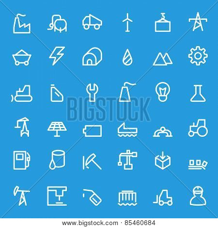 Industry icons, simple and thin line design