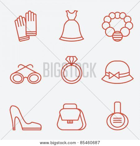 Lady fashion accessories, thin line icons, flat design