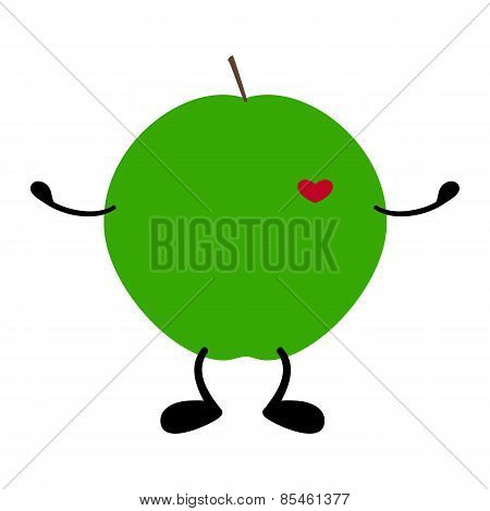 Green Apple With Heart, Hands And Legs