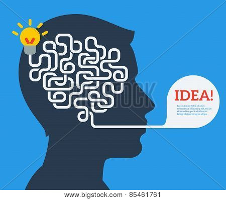 Creative concept of human brain, vector illustration.