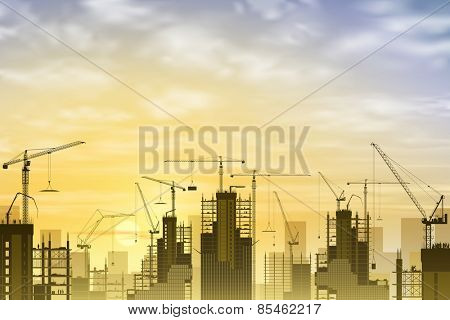 A Construction Site with Lots of Tower Cranes with Sunset, Sunrise. Vector EPS 10