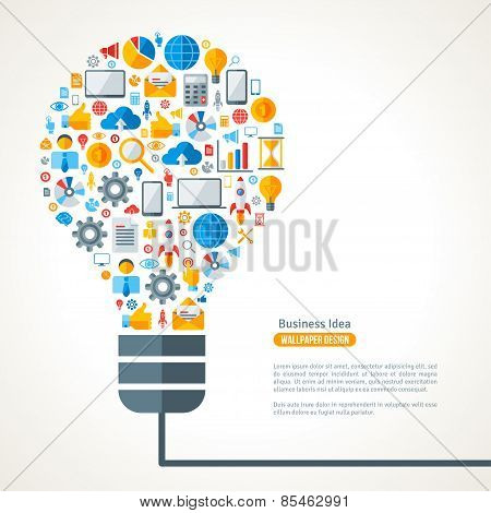 Light Bulb with Business Icons Pattern.