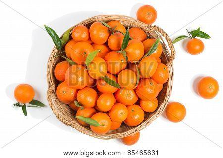 Basket Full Of Clementine Mandarin Oranges