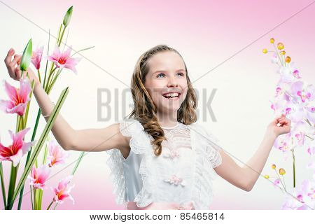 Happy Young Communion Girl.