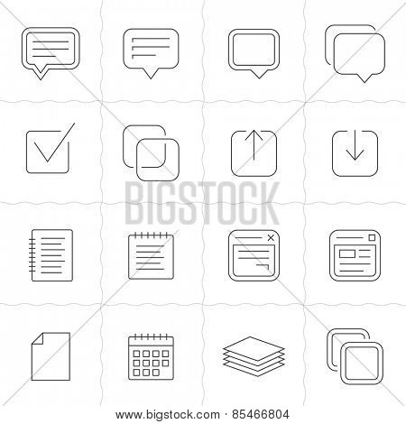 Notes, memos and plans linear icons. Simple outlined icons. Linear style