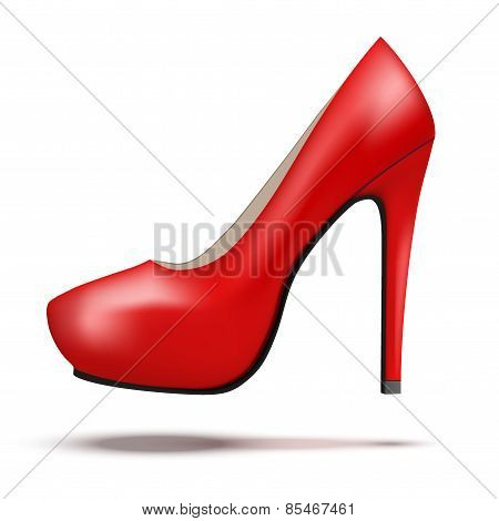 Red bright modern high heels pump woman shoes