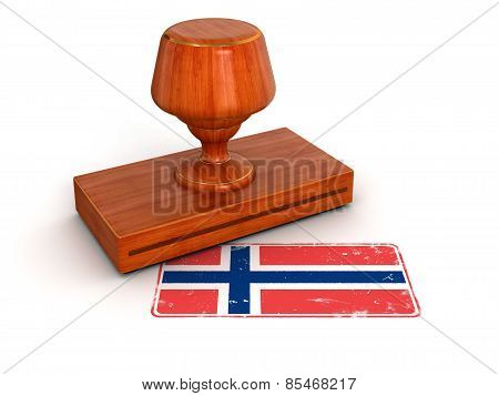 Rubber Stamp Norwegian flag (clipping path included)
