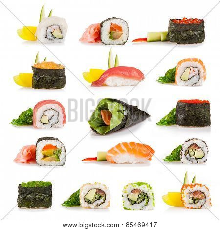 Set of sushi pieces, isolated on white background