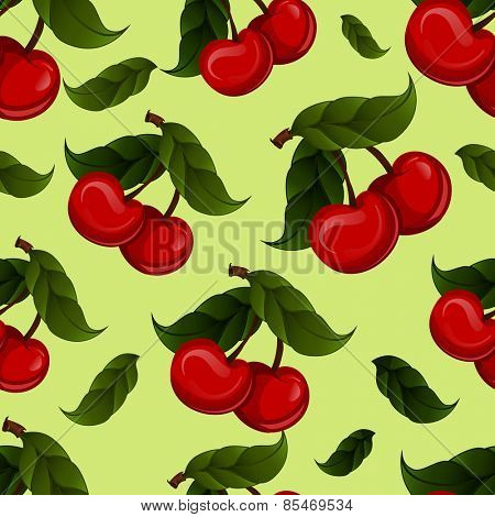 seamless texture - bright juicy fresh cherry fruit vector. Cherries fruit - seamless vector pattern
