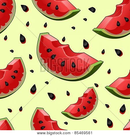 Seamless background with red fresh juicy watermelon slices. Vector illustration.
