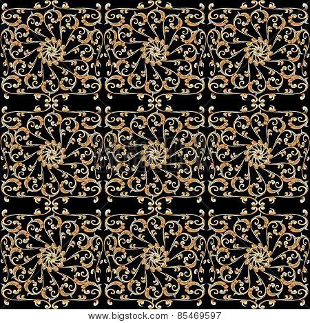 Seamless Background With Vintage Gold Ornament On Black