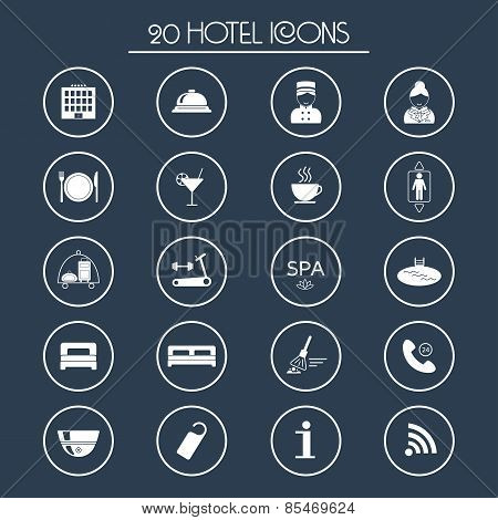 20 Hotel Services Icons. Silhouette. Vector