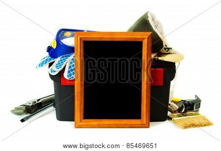 Many working tools in the box with frame on white background.