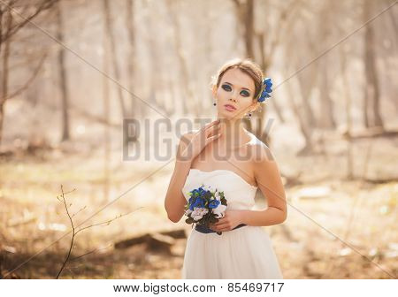 Beautiful Model With A Bouquet