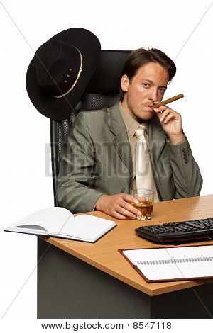 Businessman With Cigar And Whisky.