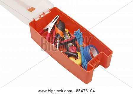 Plastic Toolbox And Tools On A White Background