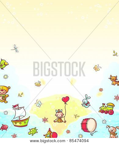 Background with toys and a copy space