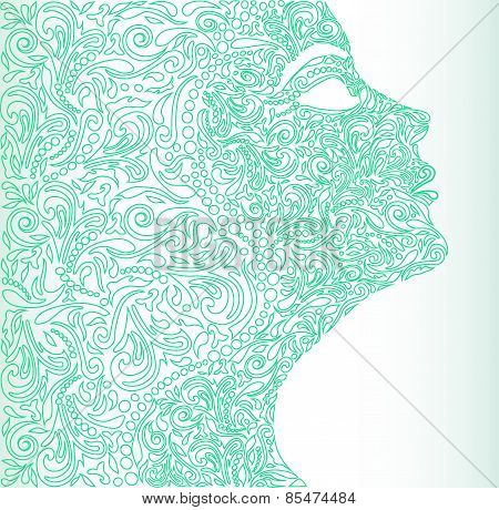 Girl's Face From A Floral Ornament