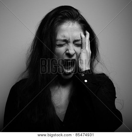 Shouting Woman With Unhappy, Depressed Crying Face In Big Drief