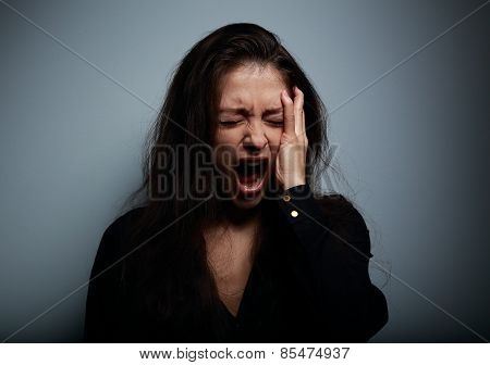 Closeup Portrait Of Angry, Sad And Desperate Shouting Woman