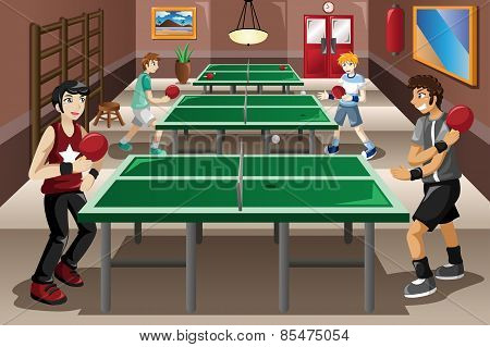 Teenagers Playing Ping Pong