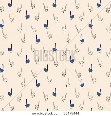 Seamless Pattern, Small Birds