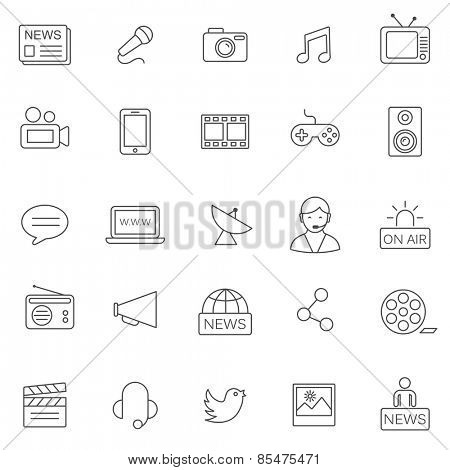 Media line icons set.Vector