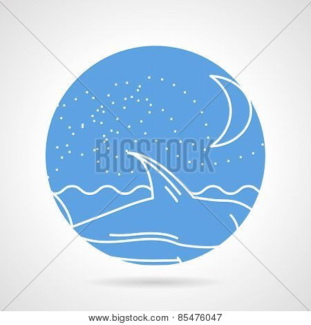 Round vector icon for sea life