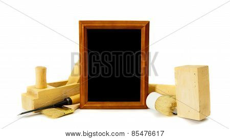 Working tools and frame on a white background.
