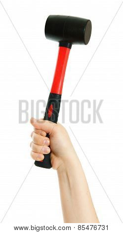 Hammer in hand on white background.