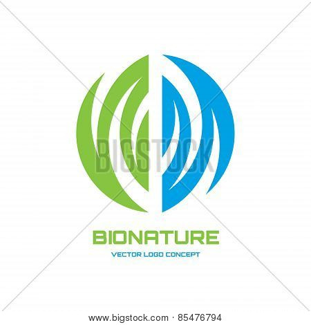 Abstract vector logo concept illustration. Nature vector logo. Abstract leaf and water logo. Vector